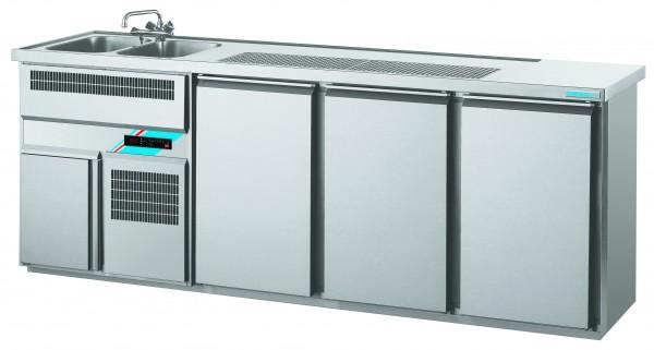 CHROMOfair / CHROMOnorm Getränkekühltheke 2 Becken mit 3 Türen, Voll-Edelstahl