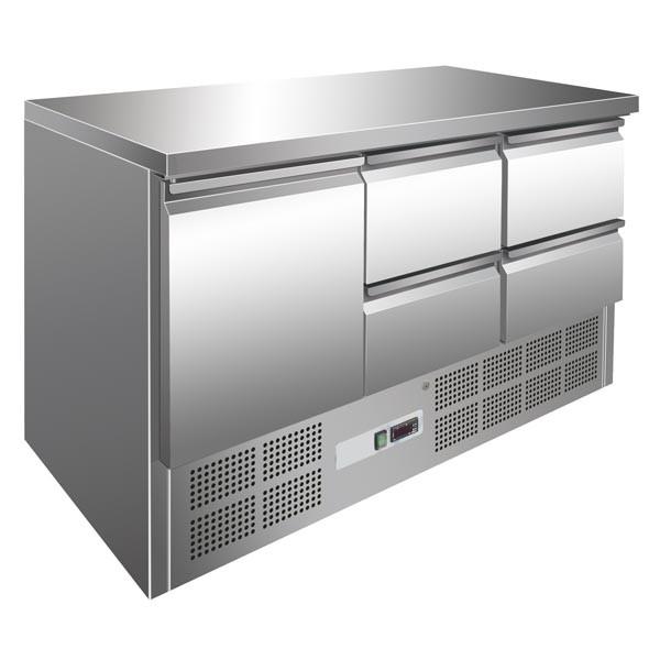Gastrostellwerk Kühltisch 1 Tür + 4 Laden