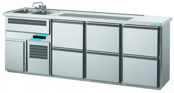 CHROMOfair / CHROMOnorm Getränkekühltheke 2 Becken mit 6 Laden, Voll-Edelstahl