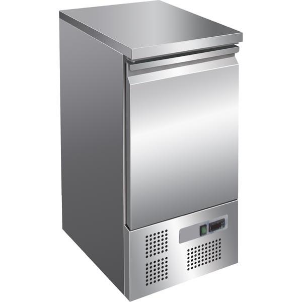 Gastrostellwerk Ecoline-Kühltisch, 1 Tür, Voll-Edelstahl, Umluft