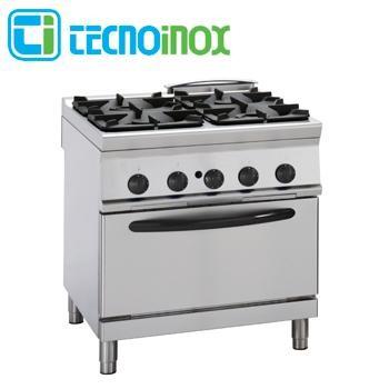 Gastronomie-Gasherd 4-flammig 35,3 kW Tecnoinox PFG8G9 mit Elektrobackofen GN 2/1