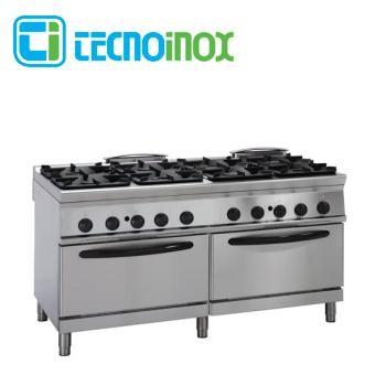 Gastronomie-Gasherd 8-flammig 72 kW Tecnoinox P2FG16GG9 mit 2 Gasbacköfen GN 2/1