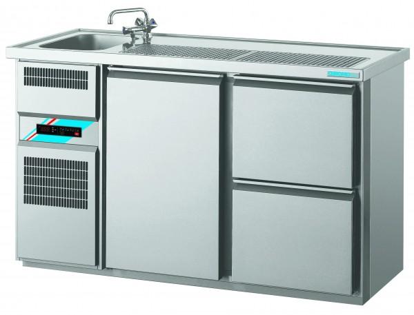 CHROMOfair / CHROMOnorm Getränkekühltheke 1 Becken mit 1 Tür & 2 Laden, Voll-Edelstahl