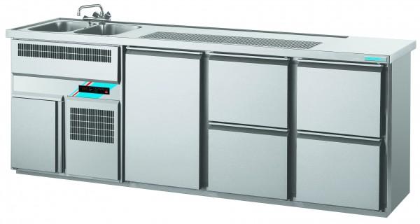 CHROMOfair / CHROMOnorm Getränkekühltheke 2 Becken mit 1 Tür & 4 Laden, Voll-Edelstahl