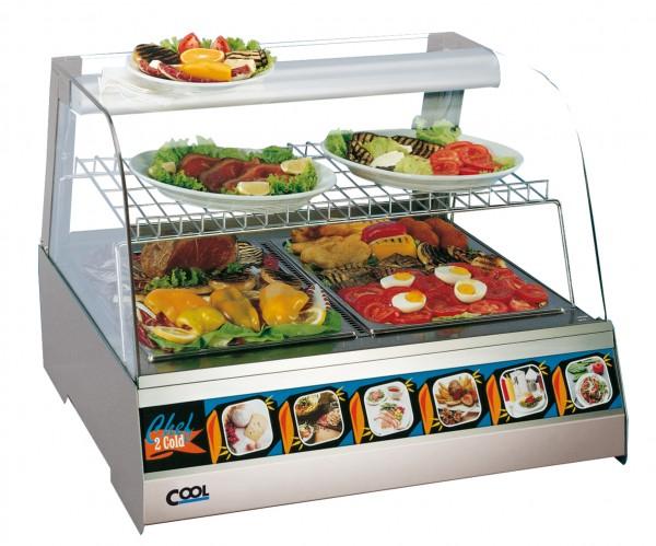 COOL by Nordcap Auftisch-Kühlvitrine / Kalte Theke 2 x GN 1/1 , runder Glasaufbau für die Gastronomi