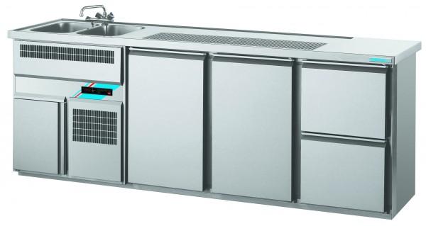 CHROMOfair / CHROMOnorm Getränkekühltheke 2 Becken mit 2 Türen & 2 Laden, Voll-Edelstahl