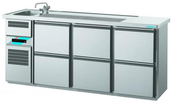 CHROMOfair / CHROMOnorm Getränkekühltheke 1 Becken mit 6 Laden, Voll-Edelstahl