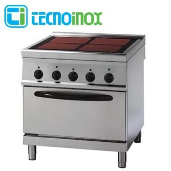 Gastronomie-Ceranherd 4 Heizzonen 18,9 kW Tecnoinox PFC8FE9 Glaskeramik mit Backofen GN 2/1