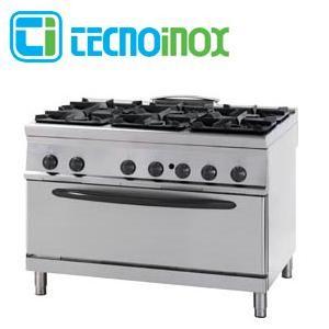 Gastronomie-Gasherd 6-flammig 49 kW Tecnoinox PFXG12GG9 mit Gas-Großbackofen 88x62 cm