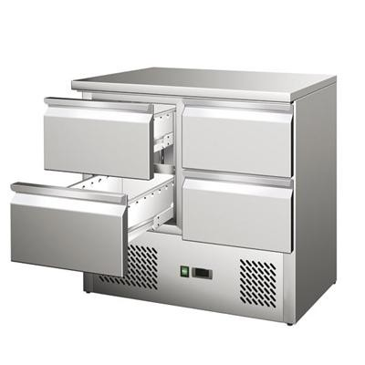 Gastrostellwerk Kühltisch Ecoline IV, 4 Laden, Edelstahl, Umluft für die Gastronomie