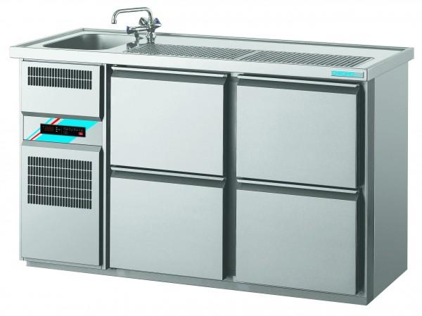 CHROMOfair / CHROMOnorm Getränkekühltheke 1 Becken mit 4 Laden, Voll-Edelstahl