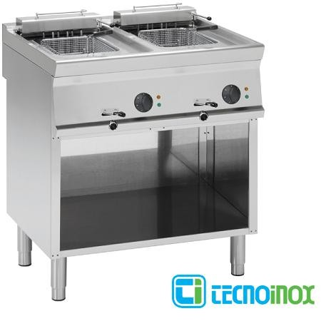 Elektro-Fritteuse Tecnoinox 2x8 Liter FR8FE7 Doppelbecken-Gastronomie-Friteuse