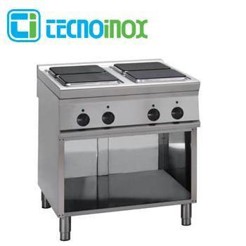 Gastronomie-Elektrokochfeld mit 4 Heizzonen eckig / quadratisch 16 kW Tecnoinox PC8FE9