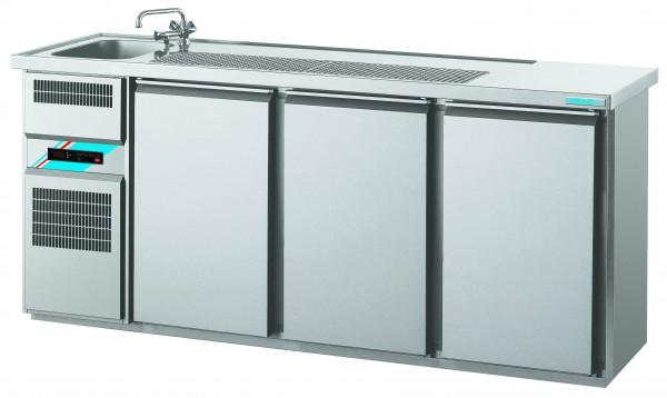 CHROMOfair / CHROMOnorm Getränkekühltheke 1 Becken mit 3 Türen, Voll-Edelstahl