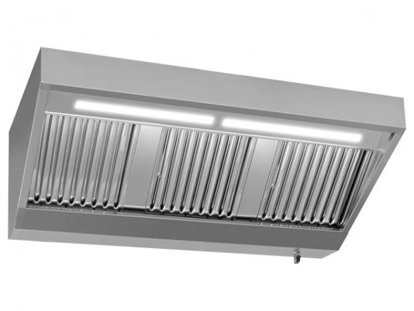 Wandhaube, 2000x1100mm, ohne Motor, mit Beleuchtung 2.400m³/h, 230V