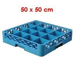 Tassenkorb 50 x 50 cm mit Trennung für 16 Tassen - Gastro Spülkorb