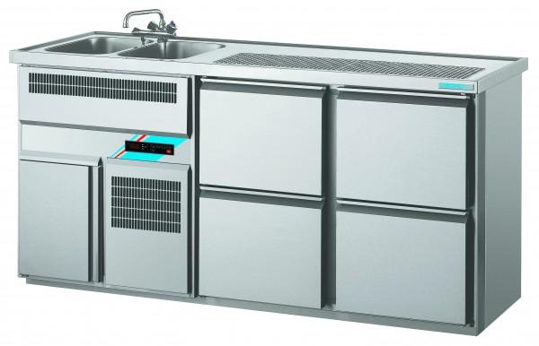 CHROMOfair / CHROMOnorm Getränkekühltheke 2 Becken mit 4 Laden, Voll-Edelstahl
