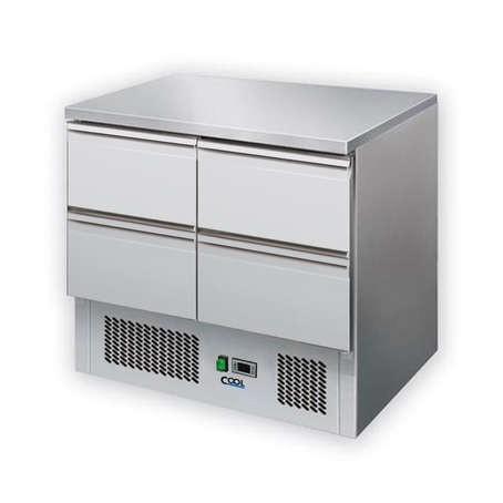 COOL by Nordcap Kühltisch KT-9-4Z, 4 Laden, Edelstahl, Umluft für die Gastronomie