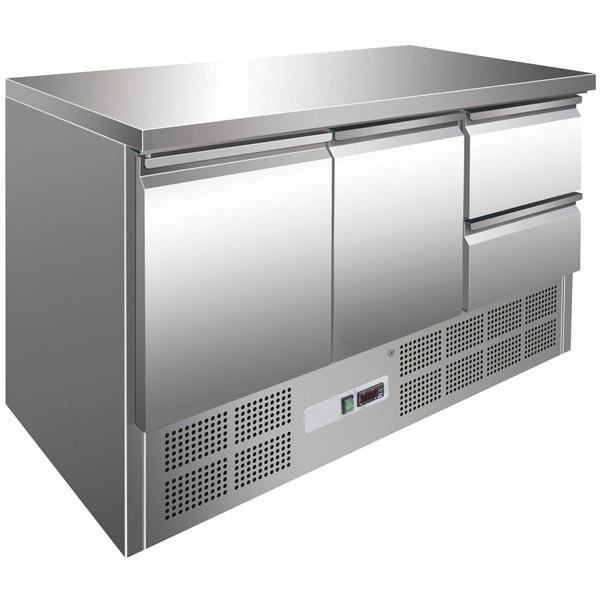 Gastrostellwerk Kühltisch 2 Türen + 2 Laden