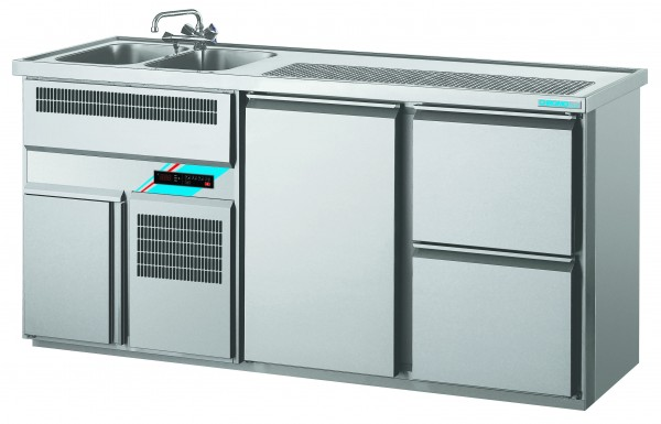 CHROMOfair / CHROMOnorm Getränkekühltheke 2 Becken mit 1 Tür & Laden, Voll-Edelstahl