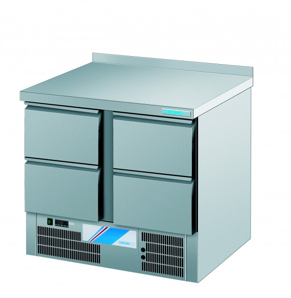 CHROMOfair / CHROMOnorm Kühltisch, 4 Laden, Voll-Edelstahl, Umluft für die Gastronomie