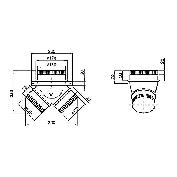 Bartscher Stutzen zu 900mm und 1000mm Abzugshauben - 100103