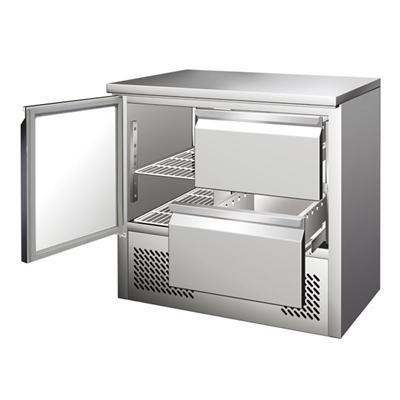 Gastrostellwerk Kühltisch Ecoline III, Edelstahl, Umluft für die Gastronomie