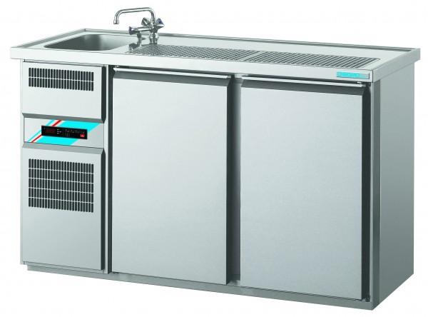 CHROMOfair / CHROMOnorm Getränkekühltheke 1 Becken mit 2 Türen, Voll-Edelstahl